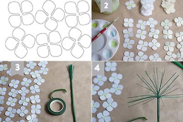 làm hoa cẩm tú cầu giấy